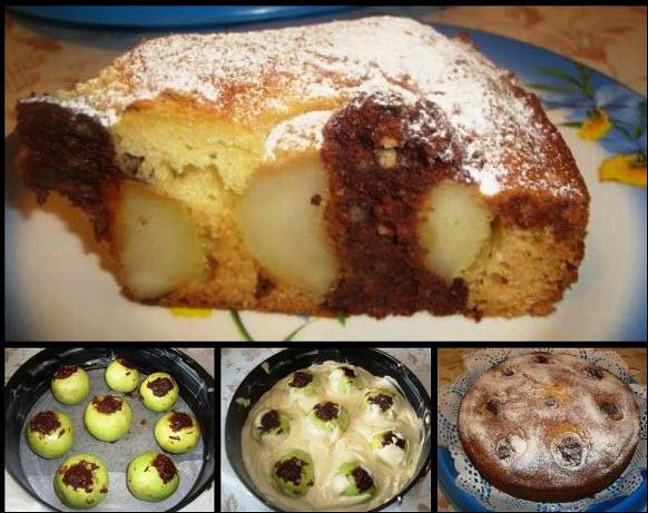Бесподобный пирог с яблоками и шоколадом