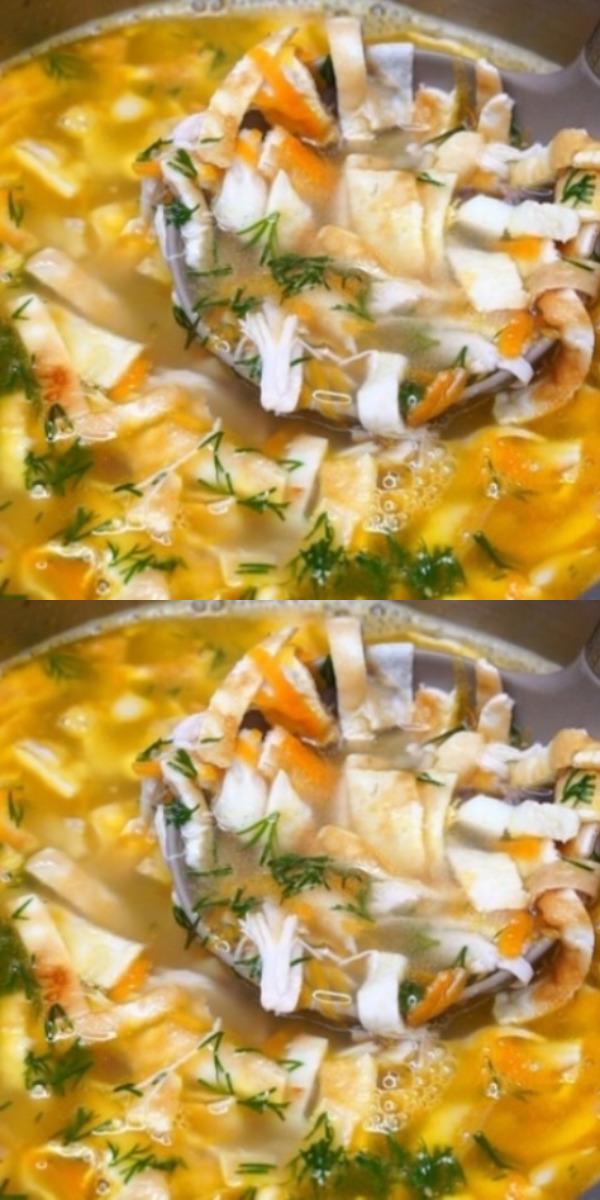 Лёгкий куриный суп с яичными блинчиками