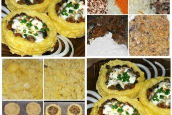 Картофельные гнезда с грибами: закуска, которую расхваливают больше, чем мясо!