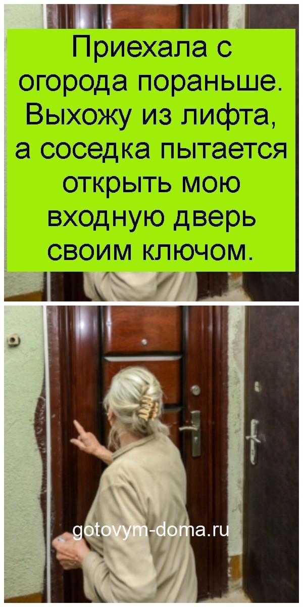 Приехала с огорода пораньше. Выхожу из лифта, а соседка пытается открыть мою входную дверь своим ключом 4